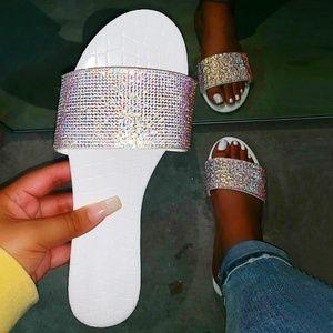 NEW🔥 Open Toe Rainbow AB Rhinestone Slides Sandal